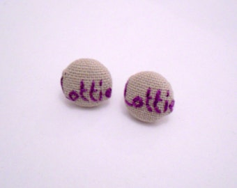 Personalised Name Stud Earrings - Hand Stitched Name Button Post Earrings