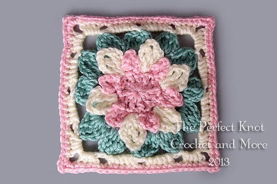 1 Inch Crochet Flower Pattern : PDF Pattern File Snow Flower Crochet Afghan Block 6 Inches