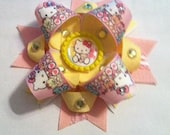 Hello Kitty and teddybear Inspired OTT boutique bow with rhinestones