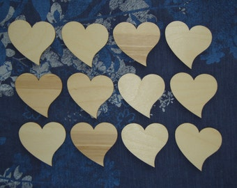 Heart Shape Wood  Cut Outs Wedding Wooden Craft Hearts 12pcs