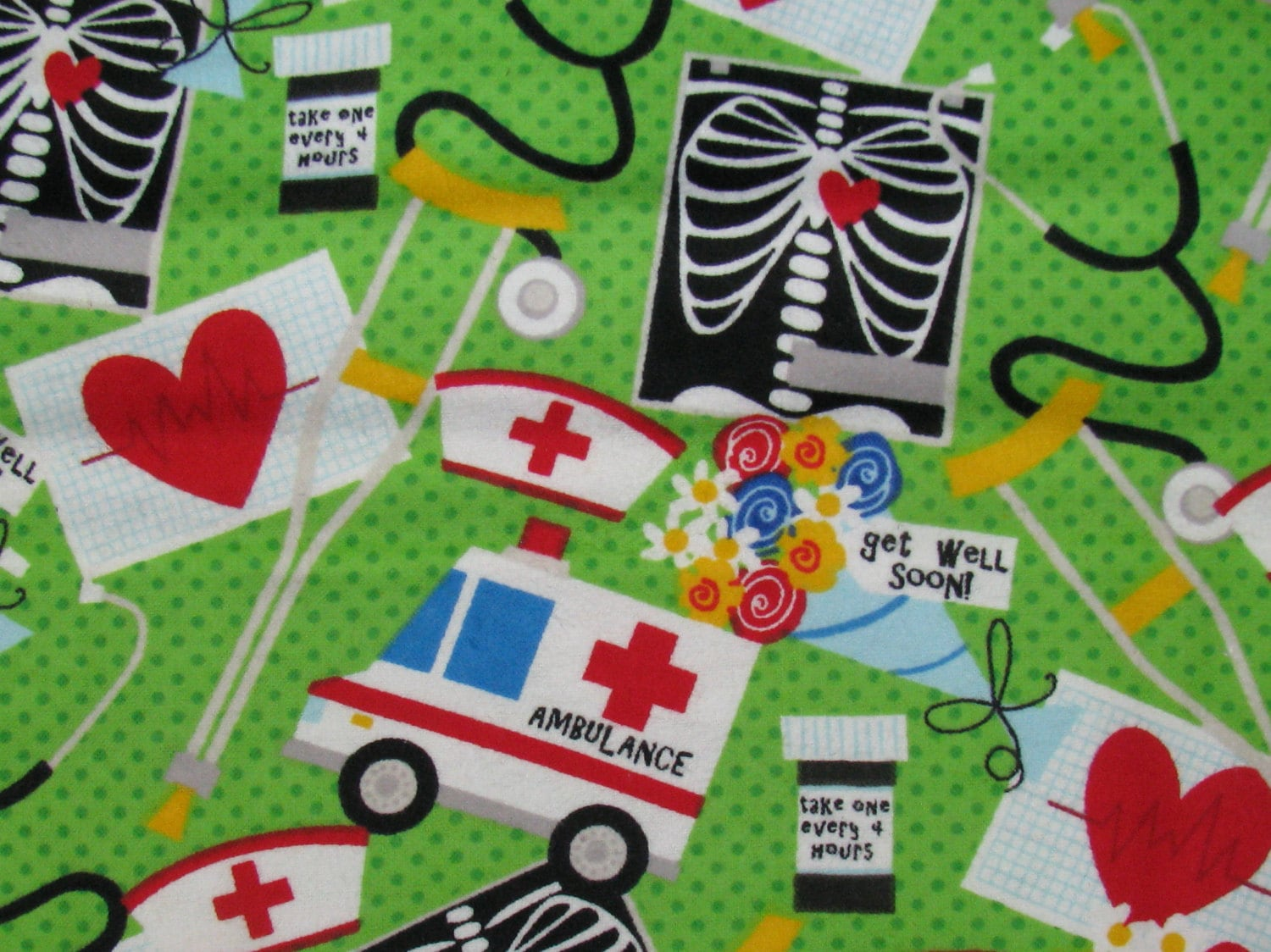 Get Well Flannel Fabric Medical Theme Xray Stethoscope