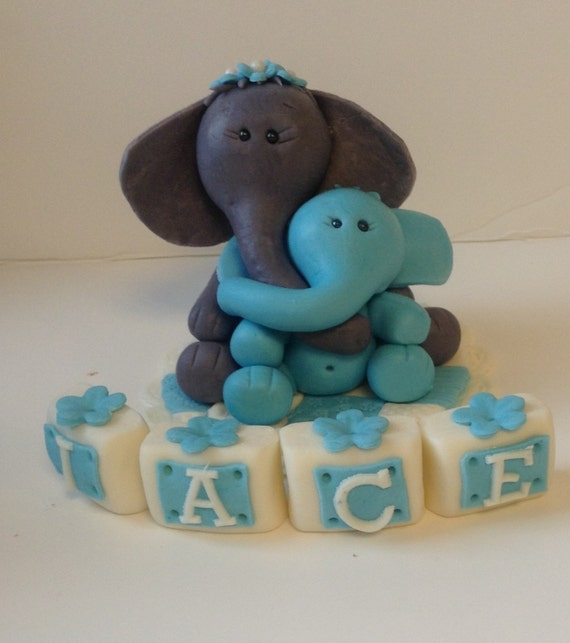 Edible Elephant Cake Decorations : Items similar to ELEPHANT MAMA And BABY Cake Topper ...