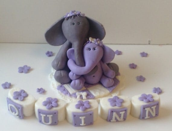 elephant mama and baby cake topper fondant edible decorations baby