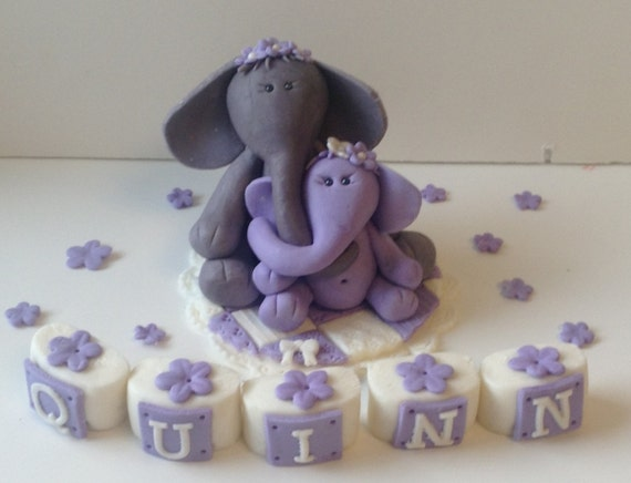 Pin Elephant Mama And Baby Cake Topper Fondant Edible ...