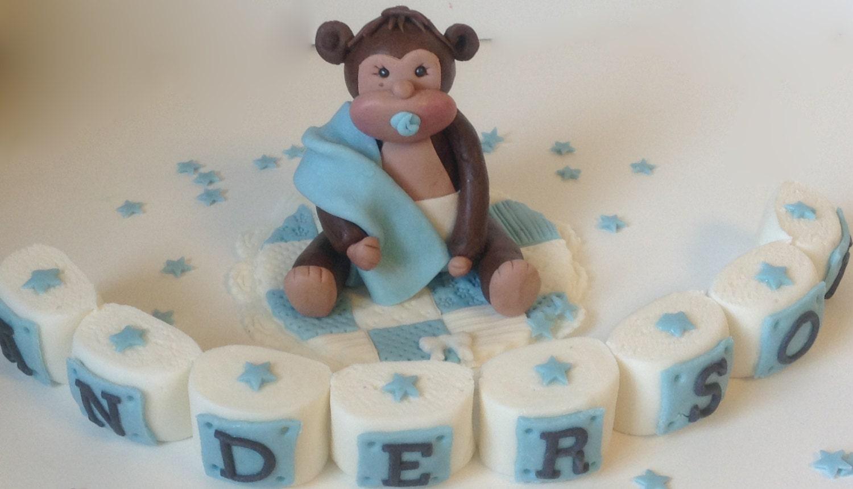 Cake Decorations Letter Blocks : SAFARI CAKE TOPPER Baby Monkey with letter name blocks flowers