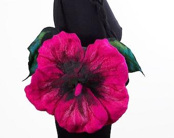 Felted Bag HIBISKUS Handbag Art Purse Pink Rose Olive wild Felt Nunofelt wearable art Nuno felt shoulder bag fairy floral fantasy boho