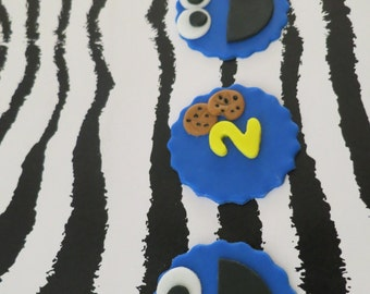 Cookie Monster Inspired Cupcake  toppers