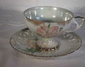 Vintage Lusterware Tea Cup & Saucer,  Large pink flocked/raised flower on cup and saucer