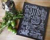 Kitchen Typography Print - Mojito Recipe - Cocktail Recipe - Kitchen Art - Chalkboard Art - Hand Lettering - Chalk Art - Cocktail Art