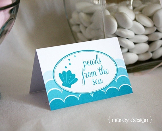 Instant download mermaid birthday party printable tent cards labels il570xn forumfinder Gallery