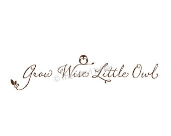 Grow Wise Little Owl Vinyl Wall Nursey Baby Decal