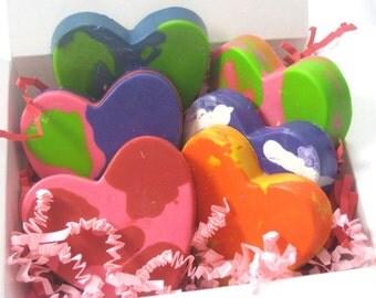 6 Recycled JUMBO Heart Crayons
