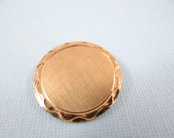 Vintage Gold Tone Round Brooch Pin - Simple and Elegant