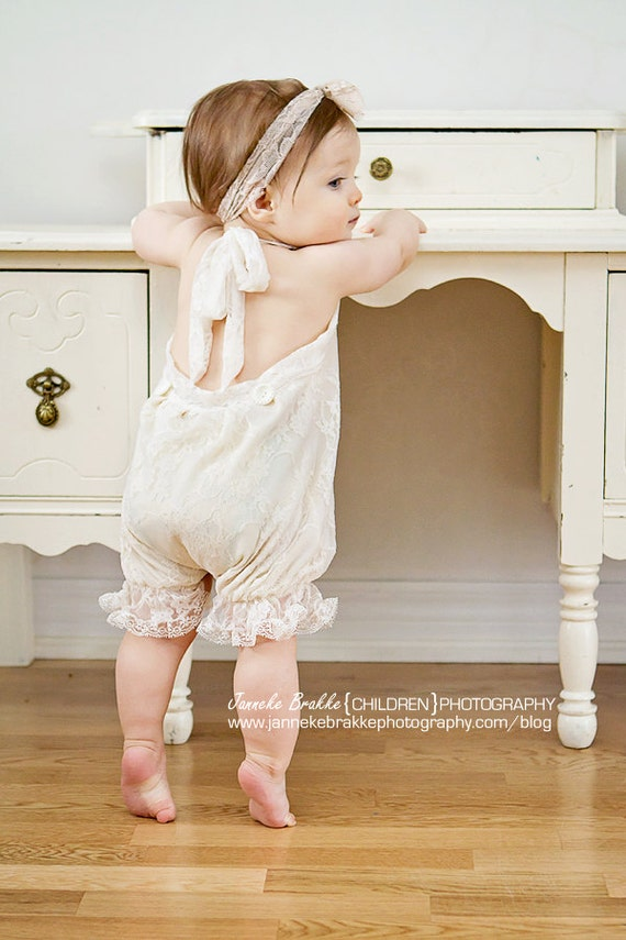 6 12 Month Size Vintage Style Ivory Lace Baby Romper