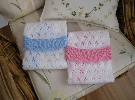 Knitting Pattern Moses Basket Blanket : Knitted Baby Blanket Pink or Blue for carseat or Moses basket