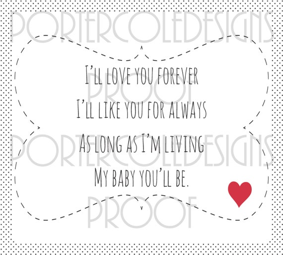 18x20 I'll love you forever Children's book quote Wall