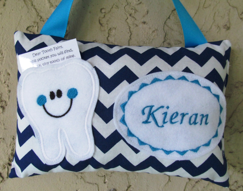 Tooth Fairy Pillow Chevron Navy