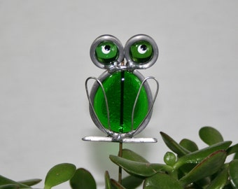 Stained Glass Green Frog Plant Stake, Garden Art