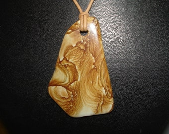 Picture Jasper with Leather Cord Necklace