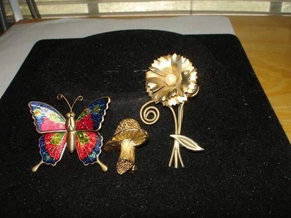 Mushroom, Flower and Butterfly Brooch/pin