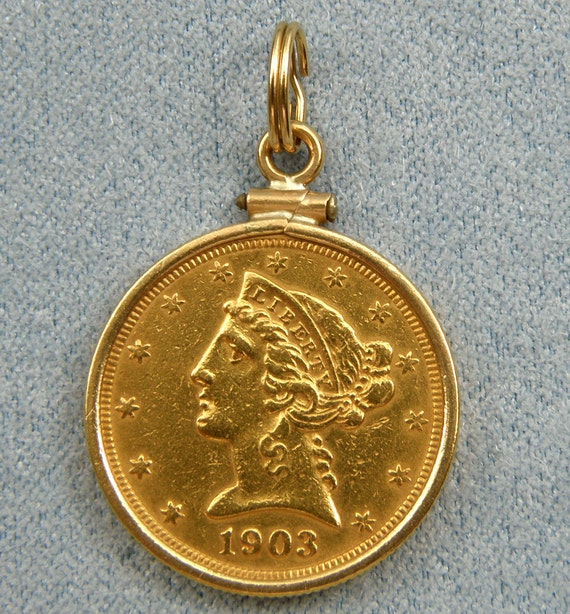 1903 Five Dollar Liberty Head Gold Coin Pendant Set In 14K