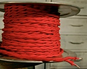 6 Feet: Red Cotton Twisted Cloth Covered Wire, Vintage Style Cloth Lamp Cord, For Hanging Pendants, Trouble Lights etc