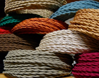 25 Feet Cloth Wire, Free US Shipping, 20 COLOR OPTIONS, Vintage Style Twisted Fabric Covered Lamp Cord for Hanging Pendants, Fans, etc