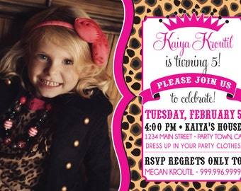 CHEETAH PRINT birthday invitation photo