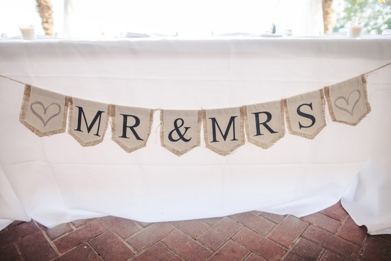 Banner - Mr. & Mrs. - Wedding - Birthday - Special Occasion - Burlap - Vintage - Rustic