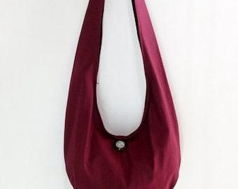 Handbags Canvas Bag Shoulder bag Sling bag Hobo bag Boho  bag Messenger bag Tote bag Crossbody Purse  Elephant button  Maroon