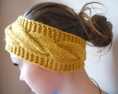 Knit Headband  Ear Warmer Head Warmer Mustard Yellow