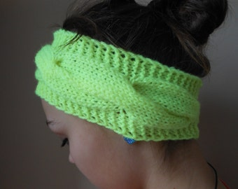 Knit Headband  Ear Warmer Head Warmer Neon Yellow
