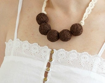 Brown short beaded lace necklace balls thread cotton for women fiber natural summer rustic