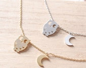Gold Owl and Moon Pendant Necklace