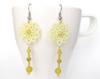 Pale green lace earrings, floral, tatted