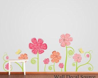 Flower Wall Decal - Floral Wall Decor - Butterflies Wall Decal - Flower Decals