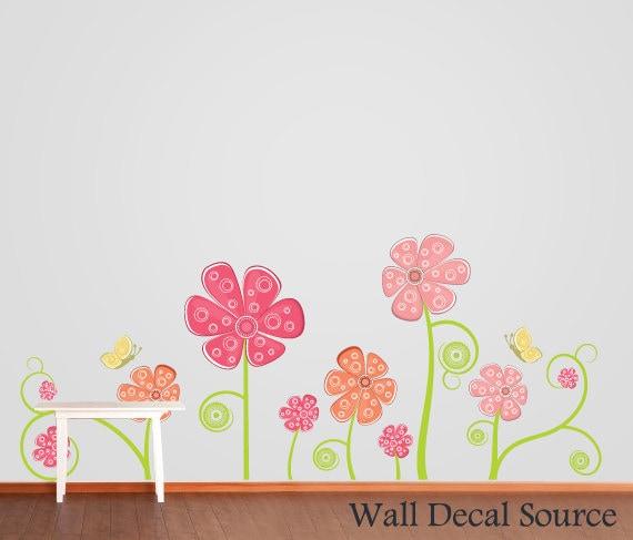 Flower Wall Decal Floral Wall Decor Butterflies Wall Decal