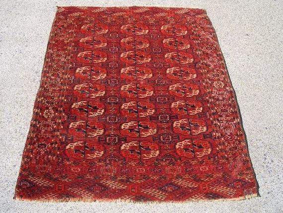 1920s Hand-Knotted Antique Turkaman Bokara Persian Rug