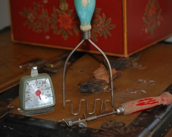 Antique and Retro  Kitchen Tool Collection: Potato Masher/Can Opener/Taylor Oven Thermometer