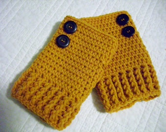 Crocheted Fingerless Gloves Gold with Black Buttons