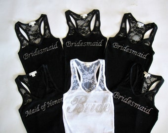 6 Bridesmaid Tank Top Shirt. Bride, Maid of Honor, Matron of Honor. Black, White, Purple, Fuchsia, Maroon, Sky Blue, Navy, Yellow, Red