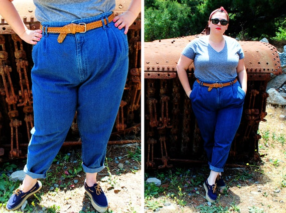 Plus Size Vintage High Waisted Pleated Front Jeans Size 24w