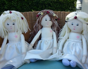 Flower Girl Dolls. Set of Bridesmaid Dolls. Wedding Dolls. Bridemaids Gifts. Traditional Rag Dolls