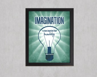 Imagination is More Important than Knowledge - photo print - Albert Einstein Quote Typography Inspirational Wall Art Poster Teal Blue Decor