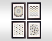 "Botanical Floral, Chevrons, Dots and Burst - Modern Abstract Art Print Set of (4) 8"" x 10"" // Dust, Khaki, Tan, Gray"