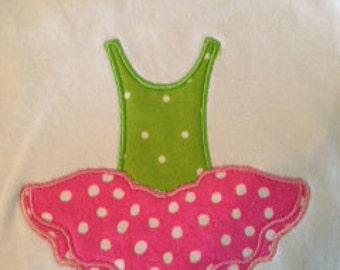 Ballerina Applique with tshirt-  one piece- burp cloth- baby shower gift