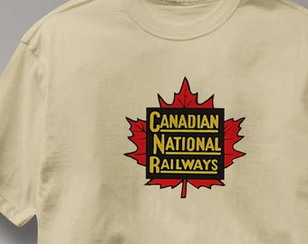 Canada National Railway T Shirt Vintage Logo Railroad Train Tee Shirt Mens Womens Ladies Youth Kids