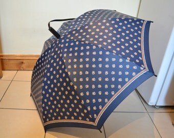 Vintage Floral & Blue Squared Pattern Mary Quant Umbrella