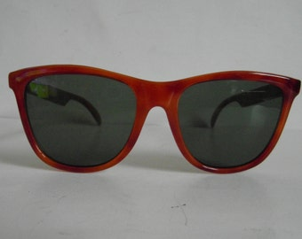 Vintage Milky Orange-Brown Tortoiseshell D-Frame Sunglasses
