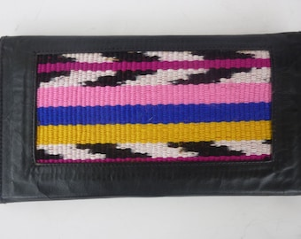 Hippie Leather Wallet With Guatemalan Textile Insert 1980s